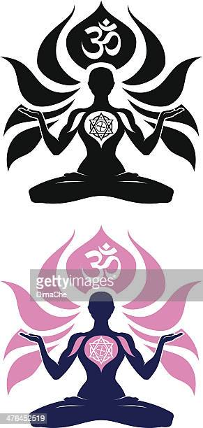 yoga emblem - chakra stock illustrations, clip art, cartoons, & icons
