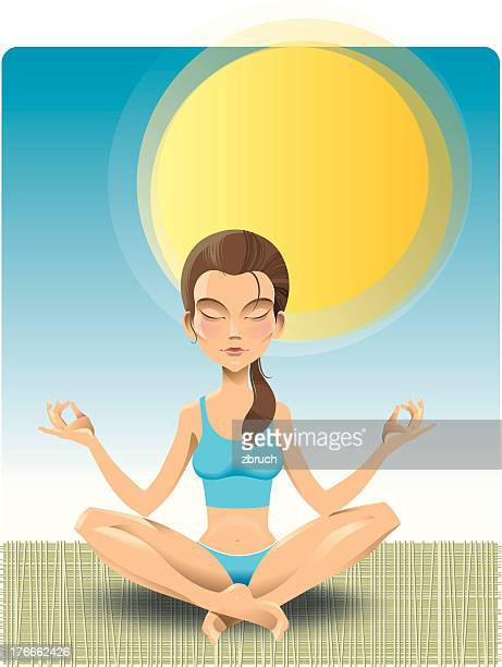yoga exercise - eyes closed stock illustrations, clip art, cartoons, & icons