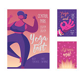 Yoga Festival Poster. Body Positive Healthy Lifestyle. Sport Event Banner Template with Fit Woman Character. Relax Spa Yoga Design. Vector illustration