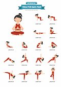 Yoga for back pain infographic,vector