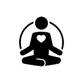 Yoga icon with heart. Meditate and love concept.