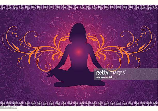 yoga in front of a mandala pattern - lotus position stock illustrations, clip art, cartoons, & icons