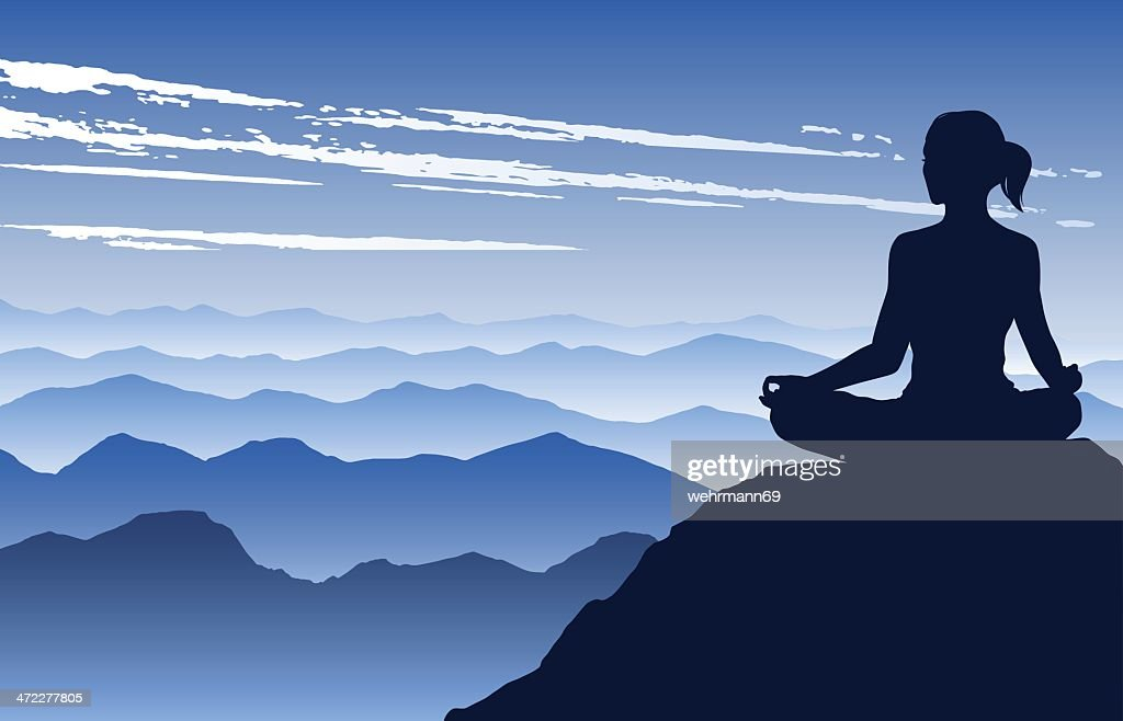 Yoga in the Mountains : stock illustration