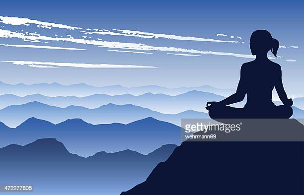 yoga in the mountains - lotus position stock illustrations, clip art, cartoons, & icons