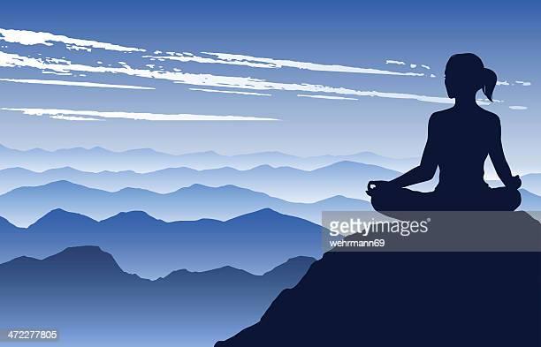 ilustrações, clipart, desenhos animados e ícones de ioga nas montanhas - relief emotion