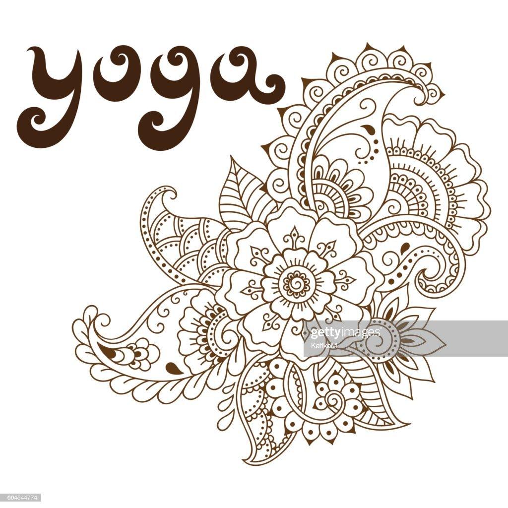 Yoga Lettrage Dans Un Style Retro Modele De Tatouage Au Henne De