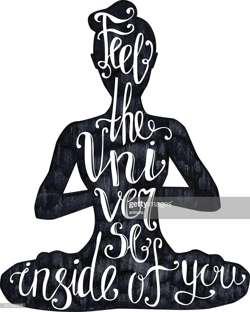 Yoga lettering on black