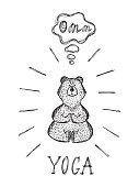 Yoga Lotus Position. Wild animal. Hand Drawn doodle Bear meditates - Vector illustration