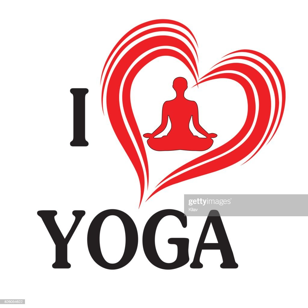 Yoga love vector illustration heart of silhouette woman in lotus pose