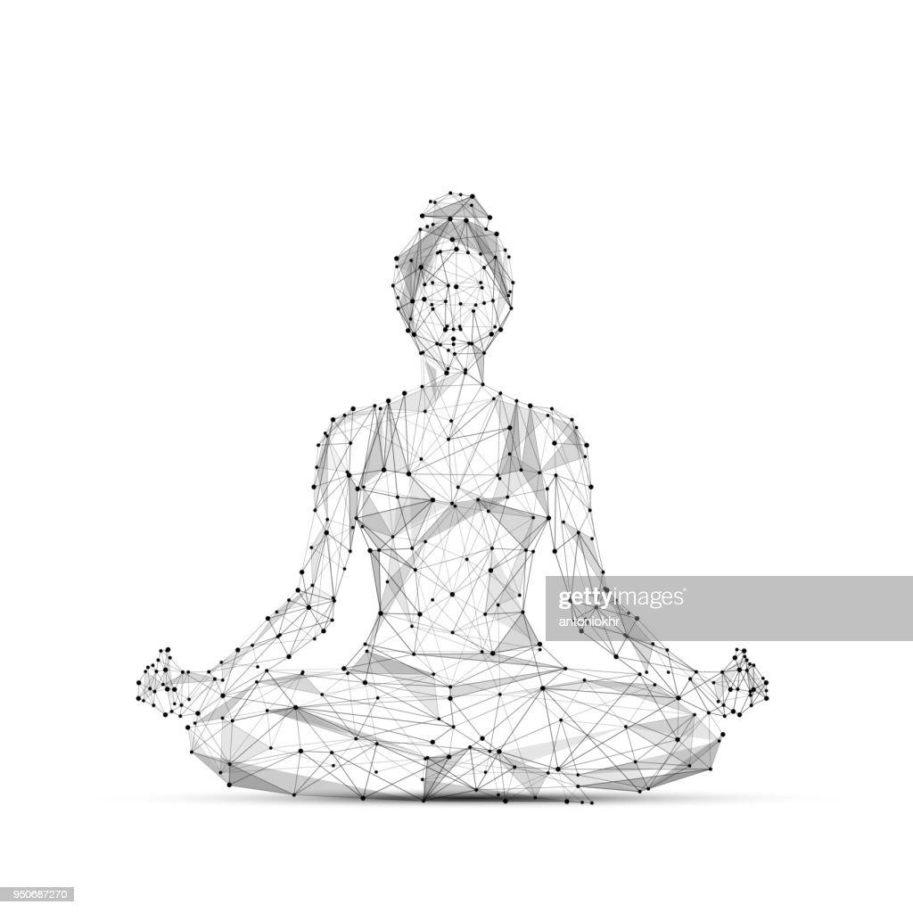 yoga low poly black on white
