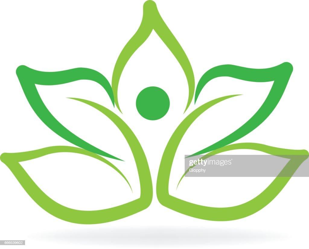 Yoga man green lotus flower logo vector art getty images yoga man green lotus flower logo vector art izmirmasajfo