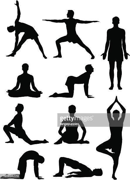 yoga man - stretching stock illustrations, clip art, cartoons, & icons