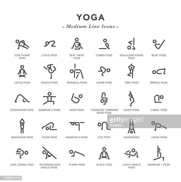 ilustraciones, imágenes clip art, dibujos animados e iconos de stock de yoga - iconos de línea media - cobra