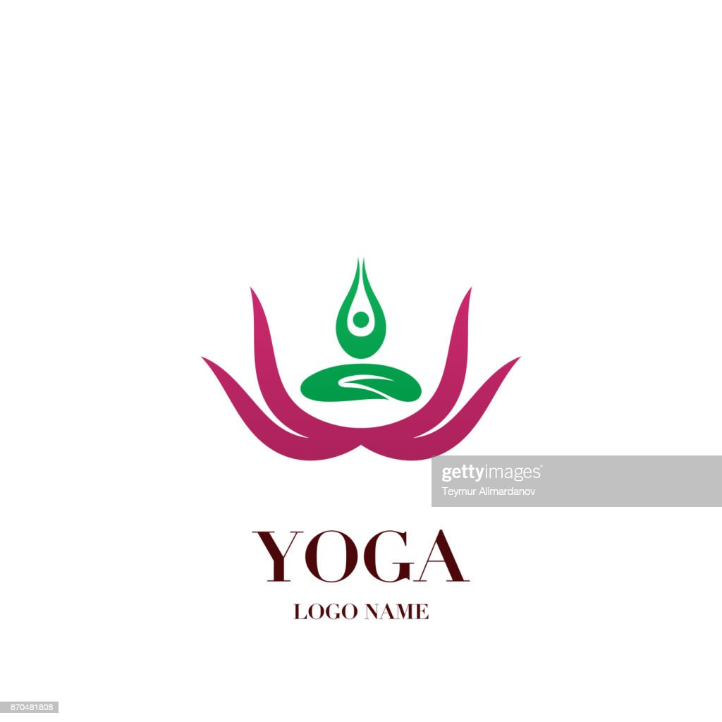 Yoga Pose With Lotus Flower On The Background Icon Abstract Design