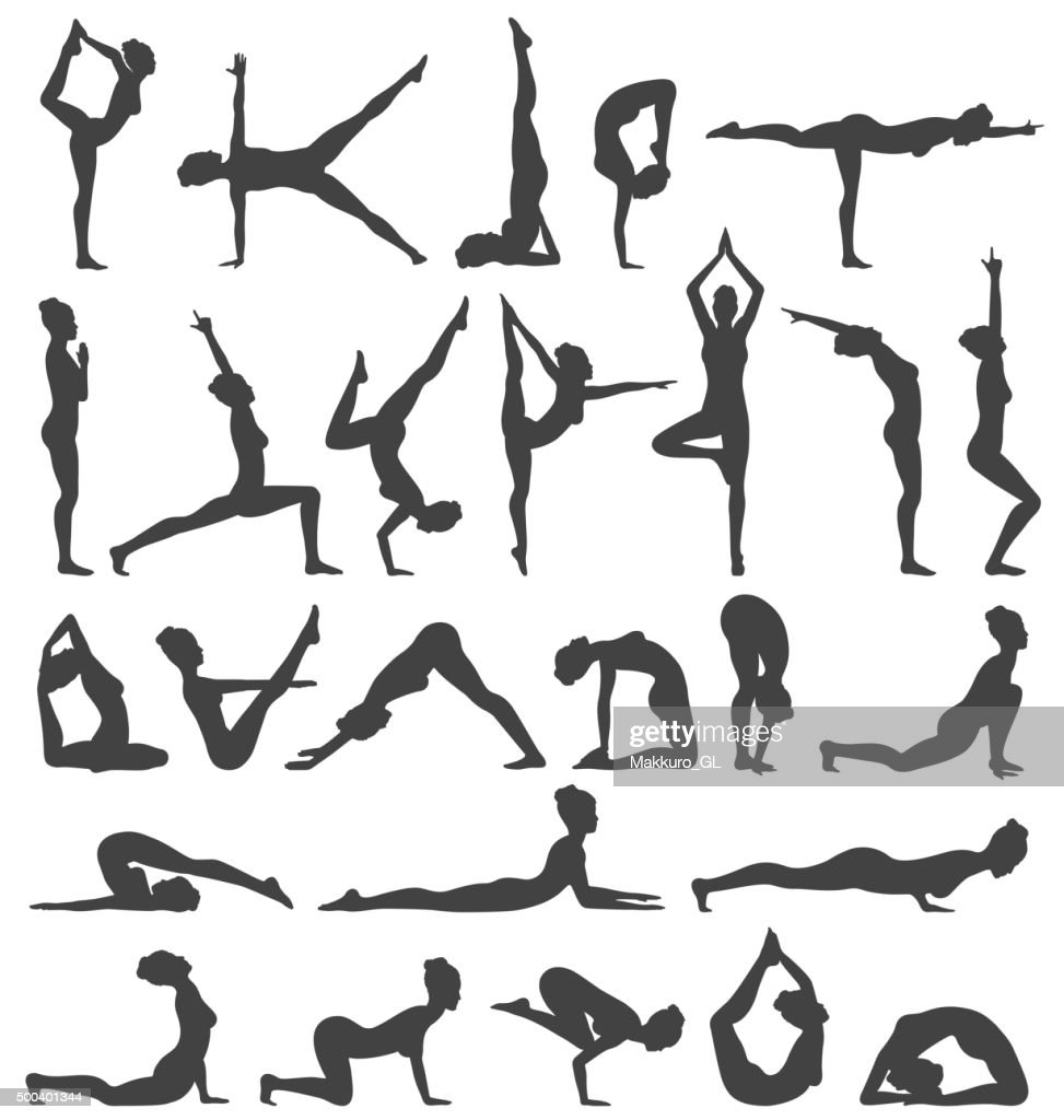 Yoga Poses Collection Set Black Icons Isolated on White
