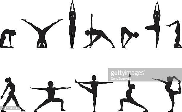 illustrazioni stock, clip art, cartoni animati e icone di tendenza di yoga pone in linea - rivolto verso l'obiettivo