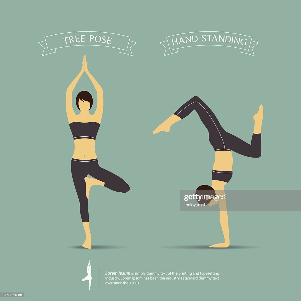Yoga Poses In Two Position Tree Pose And Hand Standing Pose High