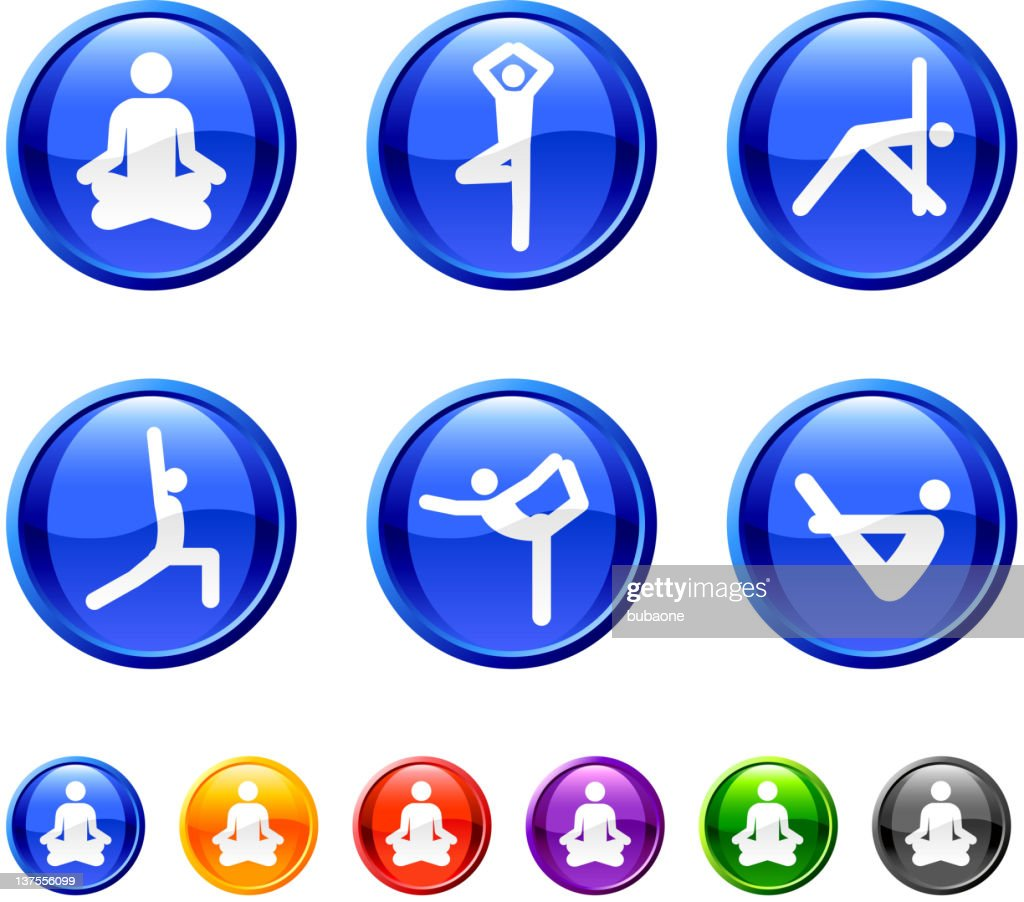 Yoga poses royalty free vector icon set in 36 colors : stock illustration