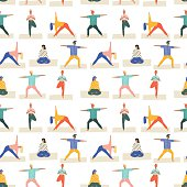 Yoga poses set seamless pattern in vector. Healthy lifestyle .