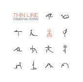 Yoga Poses - Thin Single Line Icons Set