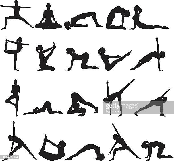 ilustraciones, imágenes clip art, dibujos animados e iconos de stock de colección de yoga silueta - yoga