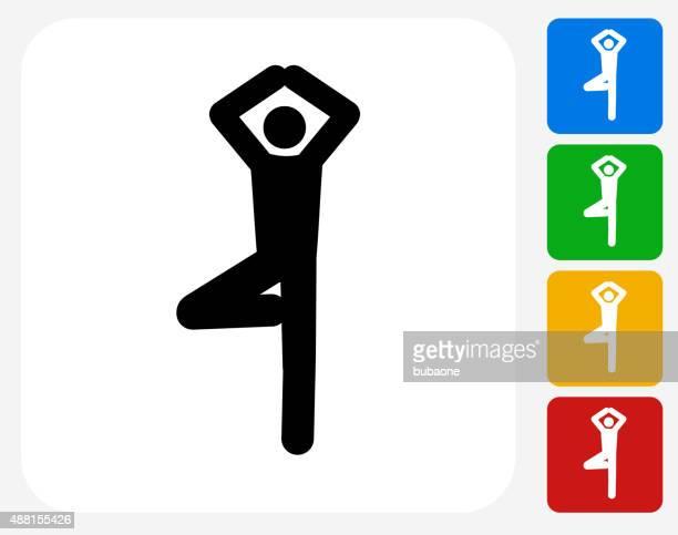 yoga stretch icon flat graphic design - yoga instructor stock illustrations, clip art, cartoons, & icons