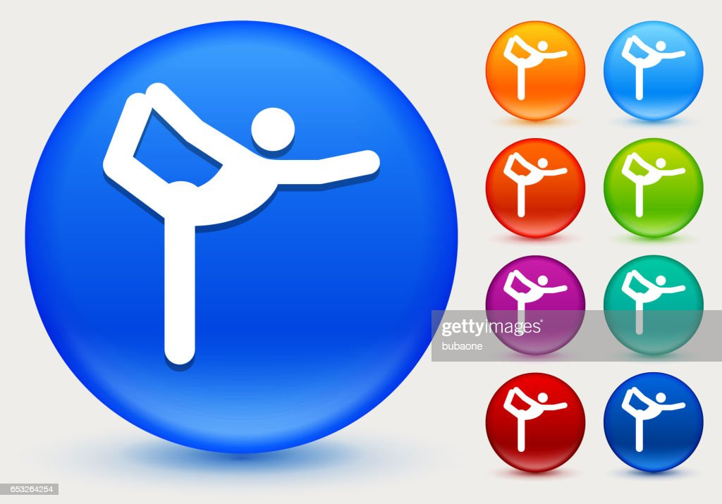 Yoga Stretch Icon on Shiny Color Circle Buttons : Vector Art