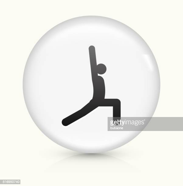 yoga stretch icon on white round vector button - yoga instructor stock illustrations, clip art, cartoons, & icons