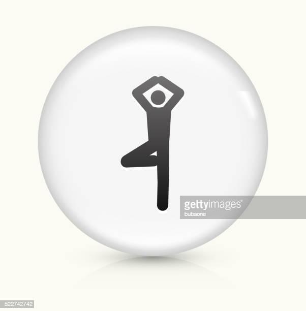 Yoga Stretch icon on white round vector button