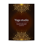 Yoga studio banner with gold glitter ethnic floral mandalas