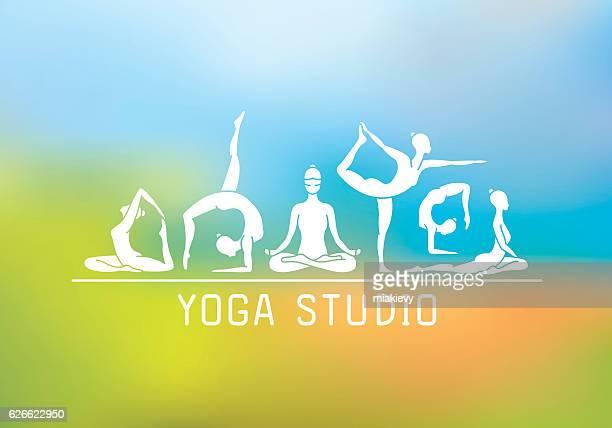 ilustraciones, imágenes clip art, dibujos animados e iconos de stock de estudio de yoga - yoga