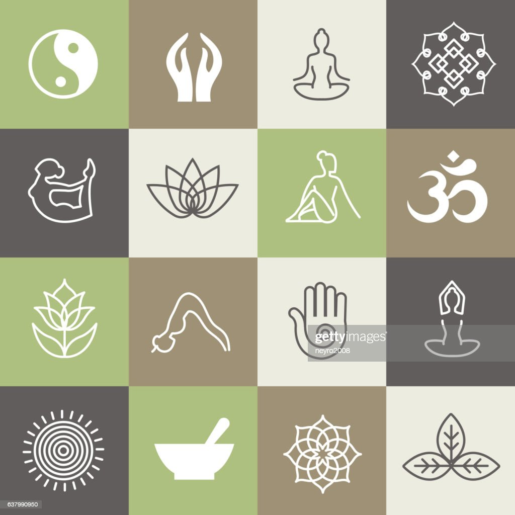 Yoga symbols and poses