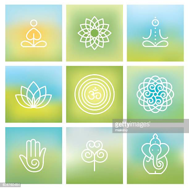 yoga symbols - spirituality stock illustrations, clip art, cartoons, & icons