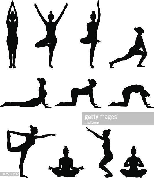 ilustraciones, imágenes clip art, dibujos animados e iconos de stock de clase de yoga - pilates