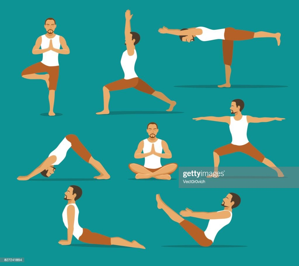 yoga workout. man in tree, lotus, boat,upwards and downwards facing dog pose, warrior one, two, three asanas
