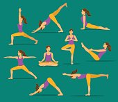yoga workout. woman in tree, lotus, boat,upwards and downwards facing dog pose, warrior one, two, three asanas