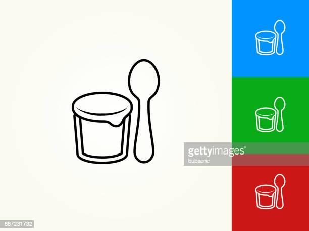 Yogurt and Spoon Black Stroke Linear Icon