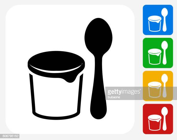 Yogurt and Spoon Icon Flat Graphic Design