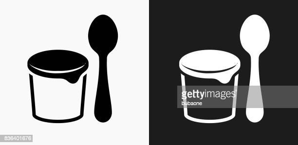 Yogurt and Spoon Icon on Black and White Vector Backgrounds