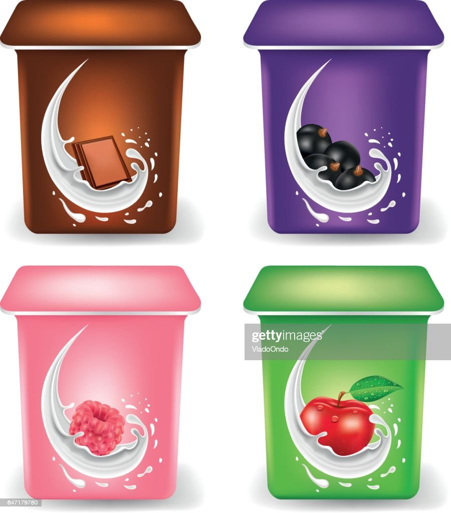 Yogurt cream Packaging Design Template with chocolate, black currant, raspberry, apple