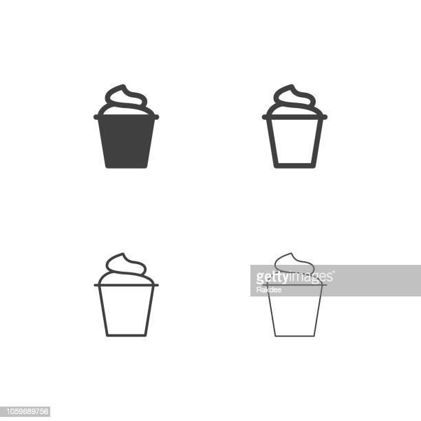 yogurt icons - multi series - frozen yogurt stock illustrations, clip art, cartoons, & icons