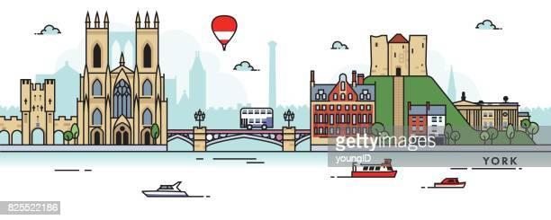 ilustraciones, imágenes clip art, dibujos animados e iconos de stock de horizonte de la ciudad de york (reino unido) - york yorkshire del norte