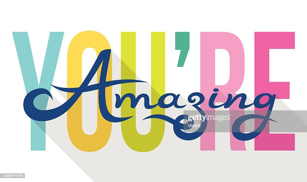 You Are Amazing colorful calligraphy note card