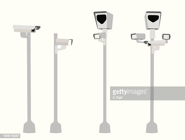 you are being watched vector silhouette - pole stock illustrations