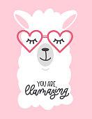"""You are llamazing""  llama cute card with cartoon llama. No probLlama motivational and inspirational quote. Cute  llama drawing with lettering."