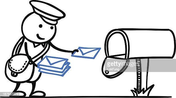 illustrations, cliparts, dessins animés et icônes de vous avez un courrier - facteur