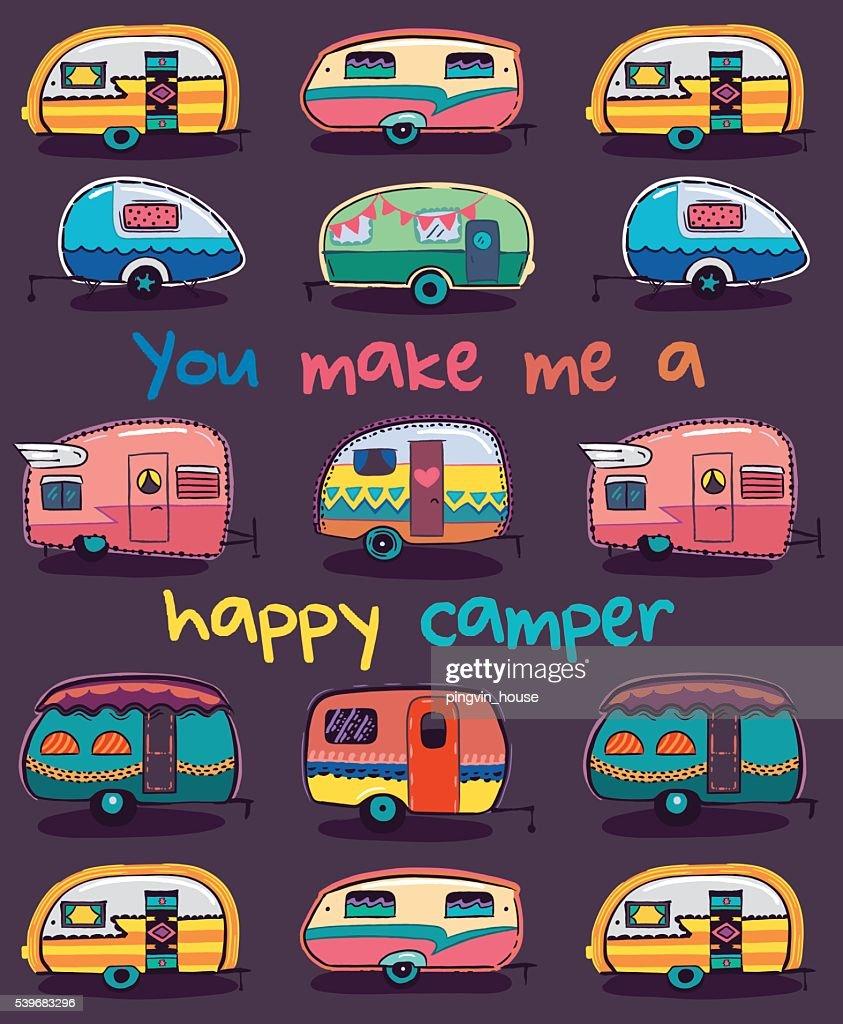 You Make Me A Happy Camper Card Vector Art