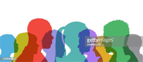 young adult head silhouettes - diversity stock illustrations