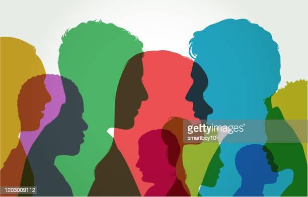 ilustrações de stock, clip art, desenhos animados e ícones de young adult head silhouettes - pessoa irreconhecível