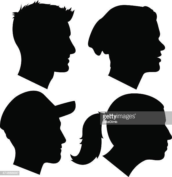 young adult profile silhouettes 2 - human nose stock illustrations